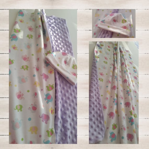 In Stock - Newborn Blanket & Beanie Gift Set - Organic Cotton Knit with lavender Minky Dot | Hospital Receiving Blanket - Elephant Polka Dot