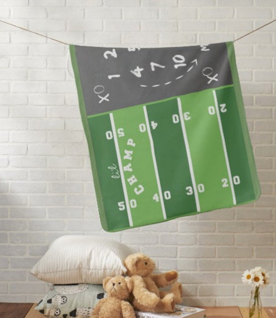 Monthly Milestone Blanket, Newborn Photo Dropcloth - Minky, Fleece, Sherpa - Li'l Champ Football Game Day