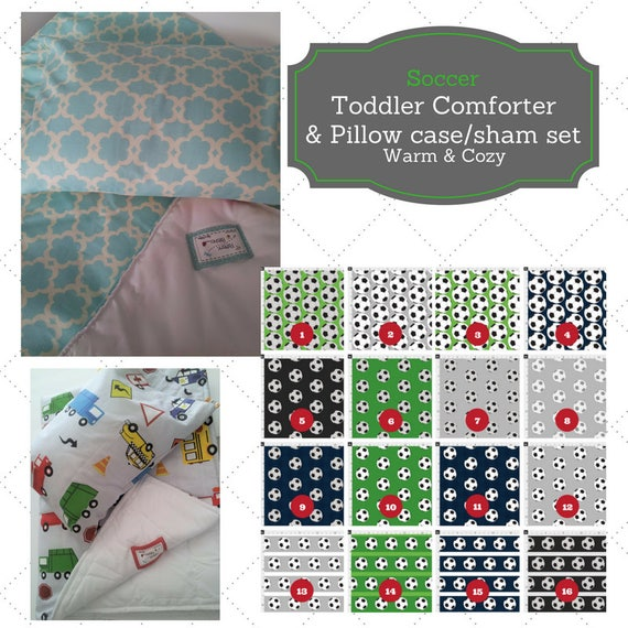 Toddler Comforter Set - Soccer, Custom Bedding, Pillow Case / Sham, Kids Comforter Throw