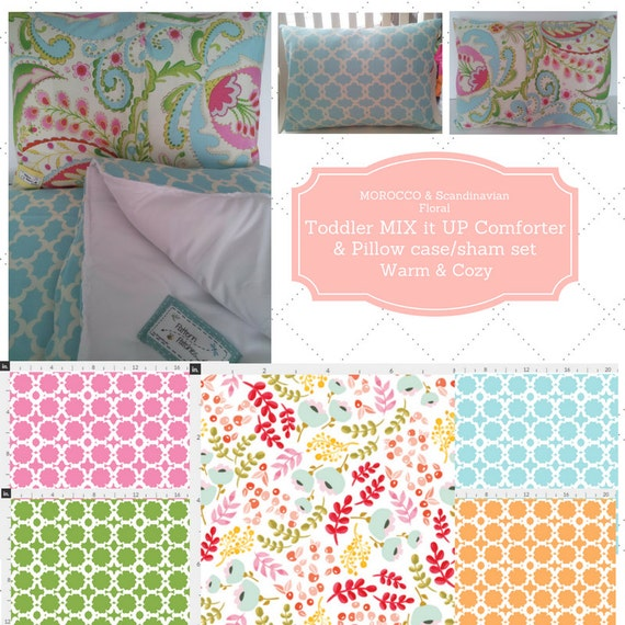 Mix it Up Toddler Comforter Set - Morocco Garden, Scandinavian Floral, Custom Bedding, Pillow Case / Sham, Shabby Chic Kids Comforter Throw