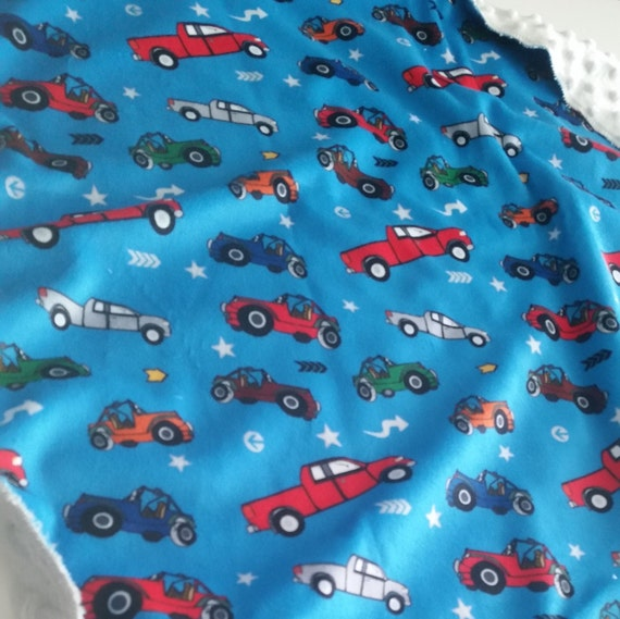 Cars Trucks & Jeeps - Sky Blue | READY to SHIP Minky Baby Boy Blanket/ Toddler Blanket, Stroller/Car Blanket, Cars Trucks Receiving Blanket
