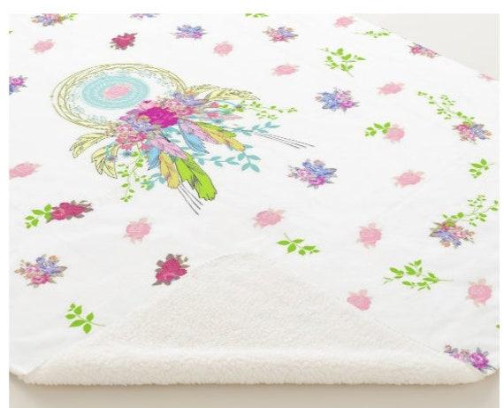 Minky Sherpa Blanket - Toddler / Baby Blanket / Sham - Crib Blanket,  24x32 Newborn, 32x50 Toddler Kids - Dream Catcher Bouquet