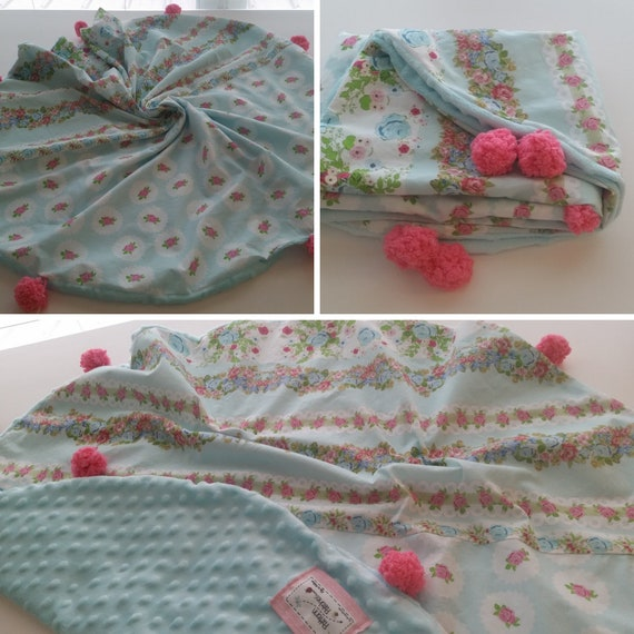 In Stock - Pom Pom Dream Circle Blanket - Baby / Toddler/ Kids Round  Blanket - Shabby Chic Rose Bouquet Mint Darling Rose Dots Pink on Mint