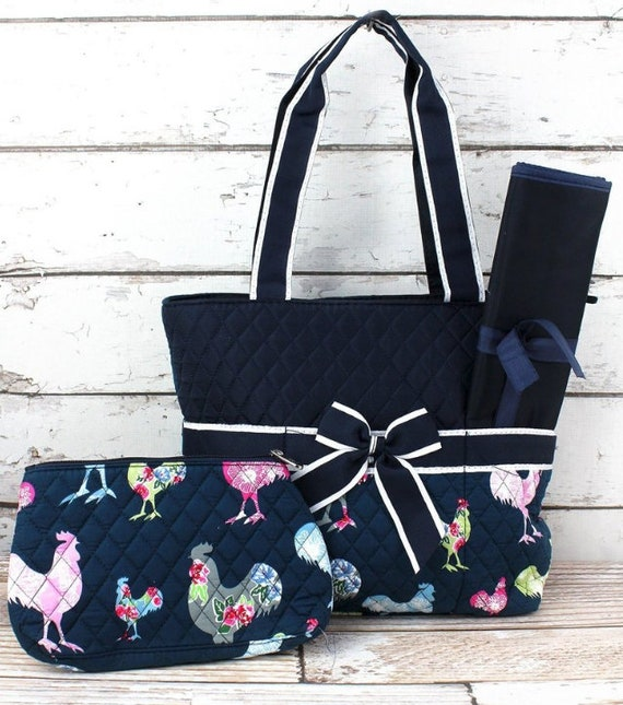 Diaper Bag - Rosy Roosters Quilted Diaper Bag with navy trim