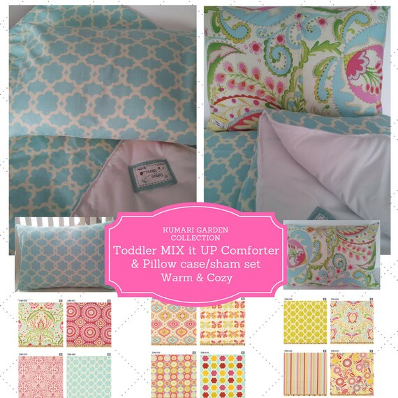 Mix it Up Toddler Comforter Set - Kumari Garden, Custom Bedding, Pillow Case / Sham, Tropical, Shabby Chic, Moroccan Kids Comforter Throw