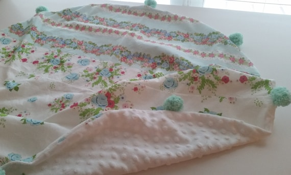 In Stock - Pom Pom Dream Circle Blanket - Baby / Toddler/ Kids Round  Blanket - Shabby Chic Rose Lace Mint Floral Tapestry Bouquet