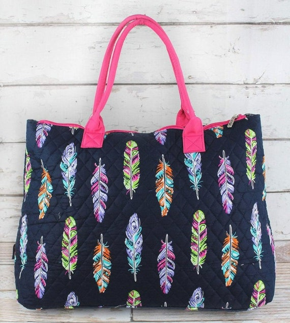 Large Shoulder Tote - Navy with Fancy Feathers Quilted Shoulder Tote Bag with PINK trim | Overnight Bag, Weekender Travel Bag
