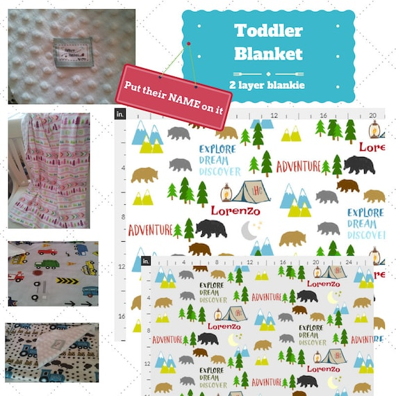 Personalized Blanket - Bear Camp- organic cotton, minky baby blanket, 24x32 Newborn, 32x50 Toddler Kids Blanket