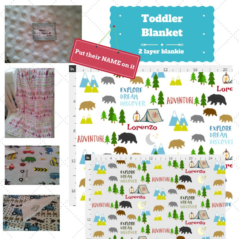 personalized blanket bear camp organic cotton minky baby blanket