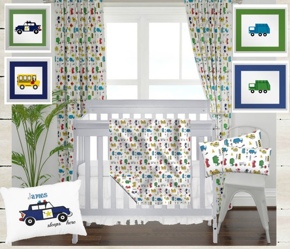 Digital Download - Boy Nursery Wall Art - Cars & Trucks - Garbage Truck Green and Blue, School Bus, Police Car - set of 4 Printables