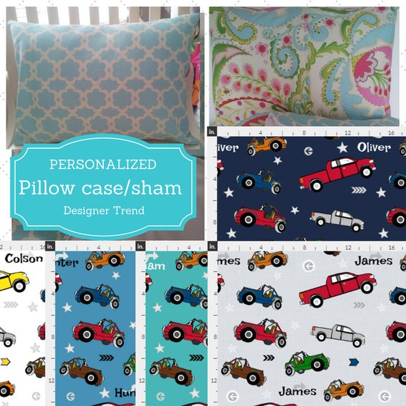 Personalized Pillow Case / Sham 12x16 OR Twin | Cars - Jeeps & Pickup Trucks, Nursery Decor,Kids Bedding