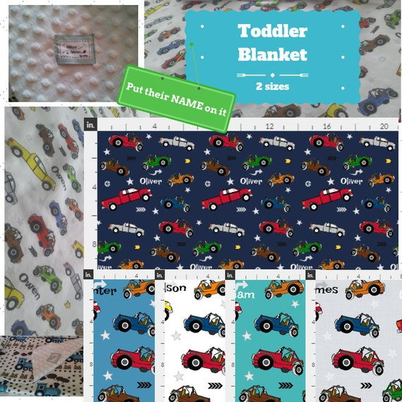 Personalized Blanket/Sham - Jeeps & Pickup Trucks- organic cotton, minky baby blanket, 24x32 Newborn, 32x50 Toddler Kids Blanket