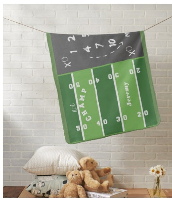 Personalized Monthly Milestone Name Blanket, Newborn Photo - Muslin Gauze, Minky, Fleece, Organic Cotton - Li'l Champ Football Game Day