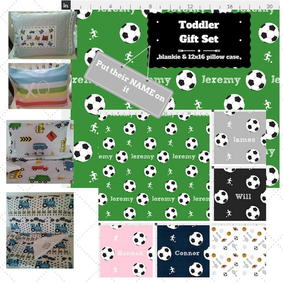 Toddler Blanket Set - Custom Soccer Sports Personalized Blanket / Pillow Case - Cotton & Minky  Kids Name Blanket / Birthday Boy Gift