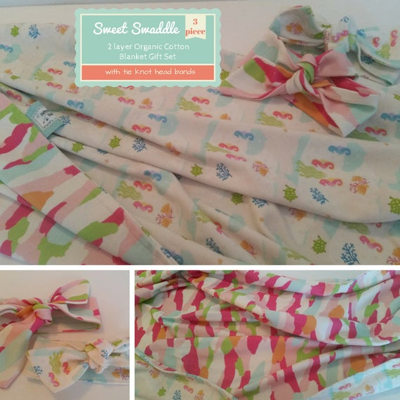 READY to SHIP Sweet Gift Set - Organic Cotton SMALL Reversible Baby / Toddler Blanket & Headband Set - Mermaid Pals Seahorses  Camo Mango