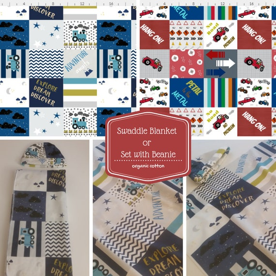 Organic Newborn Boy Swaddle Set,  Receiving Blanket, Baby Hat, Muslin Swaddle ,Jersey Knit Hospital Swaddle Blanket - Trains & Jeeps Quilts