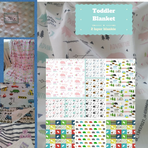 Toddler / Baby Blanket - Bear Meadow Adventures- organic cotton,minky blanket, 24x32 Newborn, 32x50 Toddler Kids Blanket