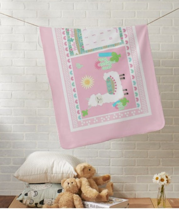 Hello World Monthly Milestone Blanket, Newborn Photo Dropcloth - Minky, Fleece, Sherpa - Sweet Llama and Cactus