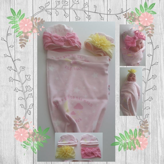 READY to SHIP Organic Cotton Newborn Cocoon Swaddle Sleep Sack,  Baby Girl Headband - Love you to the moon and back