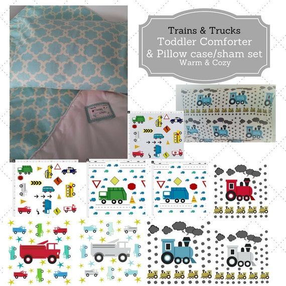 Toddler Comforter Set - Trains & Trucks, Custom Bedding, Pillow Case / Sham, Kids Comforter Throw