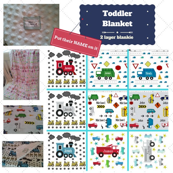 Personalized Blanket / Sham - Cars, Trucks & Trains - Custom Organic Cotton Minky Baby Blanket | Newborn Swaddle | Toddler Kids Name Blanket