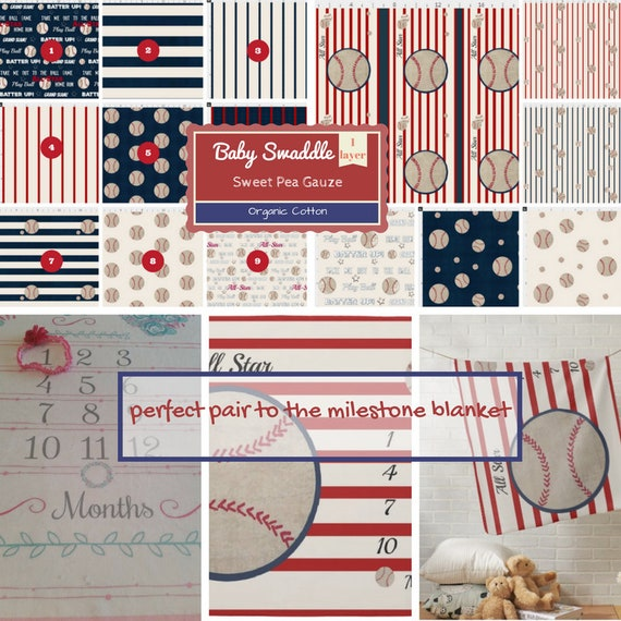 CUSTOM 1 layer Double Gauze / Muslin Baby Swaddle / Organic Sweet Pea Gauze Newborn Swaddle - CHOOSE pattern - Baseball Stripes All Star