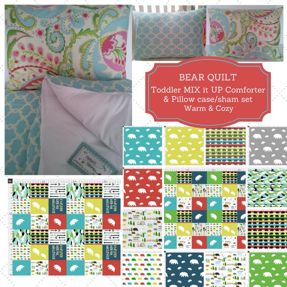 Mix it Up Toddler Comforter Set - Bear Camp Quilt Custom Bedding, Pillow Case / Sham, Kids Comforter Set