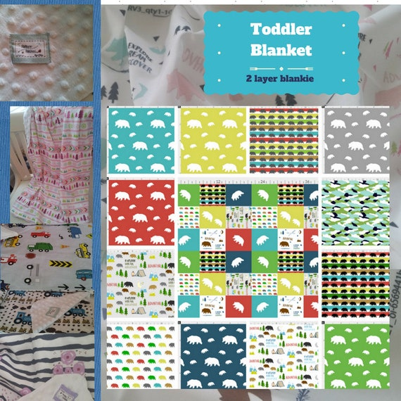 Toddler / Baby Blanket/ Sham - Bear Camp Quilt- organic cotton,minky blanket, 24x32 Newborn, 32x50 Toddler Kids Blanket