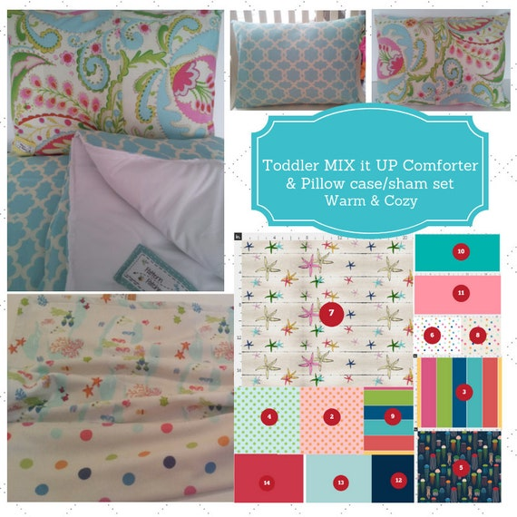 Mix it Up Toddler Comforter Set - Seaside Fun -Mermaids, Jelly Fish, Starfish, Polka Dots Bedding, Pillow Case / Sham, Kids Comforter Set
