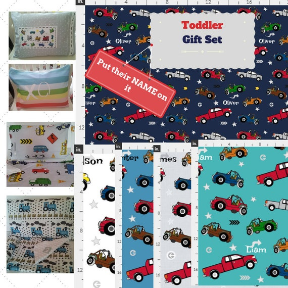 Toddler Blanket Set - Cars and Trucks Personalized Blanket / Pillow Case - Cotton, Knit & Minky Kids Name Blanket / Birthday Boy Gift