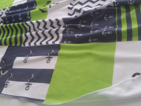 READY to SHIP Sweet Newborn Baby Swaddle Blanket - Organic Cotton Newborn Blanket - Anchors Away Quilt Green Navy