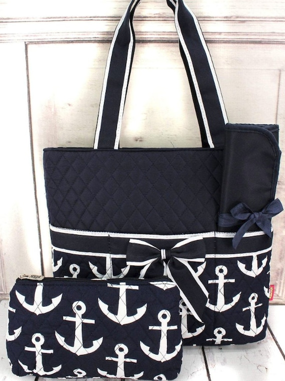 Diaper Bag - Navy with White Anchors Quilted Diaper Bag with navy trim