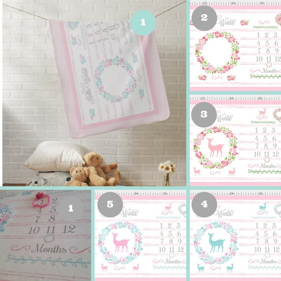 Hello World Monthly Milestone Blanket, Newborn Photo Dropcloth - Minky, Fleece, Sherpa - Shabby Chic Floral Wreath & Deer