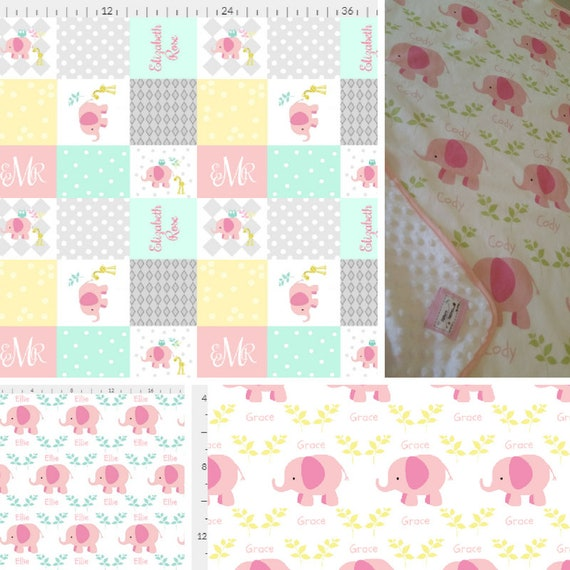 Personalized Elephant Blanket - Pink Mint Yellow Colorway | Baby and Toddler size Organic Cotton Knit or Double Gauze Girl Blanket