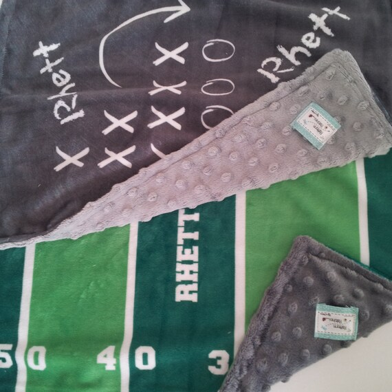 Personalized LOVIE  - Football Game Plan - organic cotton & minky baby lovie, Newborn Baby Boy Gift Set