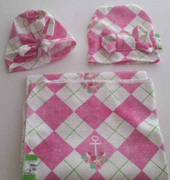 In Stock Organic Newborn Swaddle Blanket / Bow Hat |  Baby Girl Hospital Swaddle  - Preppy Argyle Anchor Floral Pink