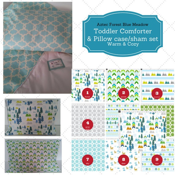 Toddler Comforter Set - Aztec Forest Blue Meadow , Custom Bedding, Pillow Case / Sham, Kids Comforter, Nature Arrow Mountain Bedding