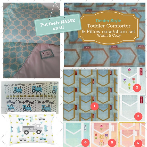 Personalized Toddler Comforter Set - Denim Style, Custom Bedding, Pillow Case / Sham, Kids Comforter Throw, Retro Mod Child Comforter