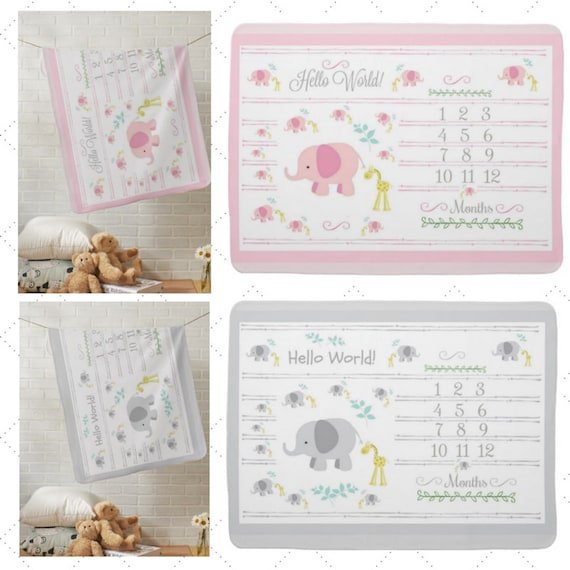 Hello World Monthly Milestone Blanket, Newborn Photo - Muslin Gauze, Minky, Fleece, Organic Cotton - Elephant Giraffe - Pink / Gray