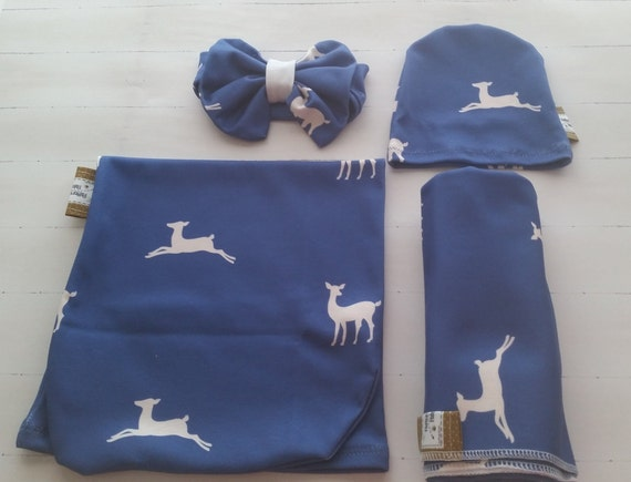 In STOCK - Organic Newborn Cocoon Swaddle sleep Sack, Receiving Blanket, Baby Hat, Headband, Gift Set - Deer Creatures Ocean Blue Cream