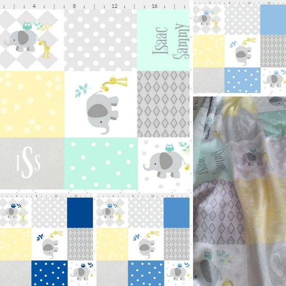 PERSONALIZED Elephant Blanket - Blues Mint Gray Yellow Colorway | Baby and Toddler size | Girl & Boy | Organic Cotton Knit or Double Gauze