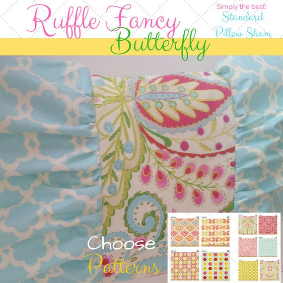 TWIN Ruffle Fancy Butterfly Pillow Sham - Kumari Garden Designer Fabric, Kids Befroom, Tropical, Moroccan Bedding, Shabby Chic