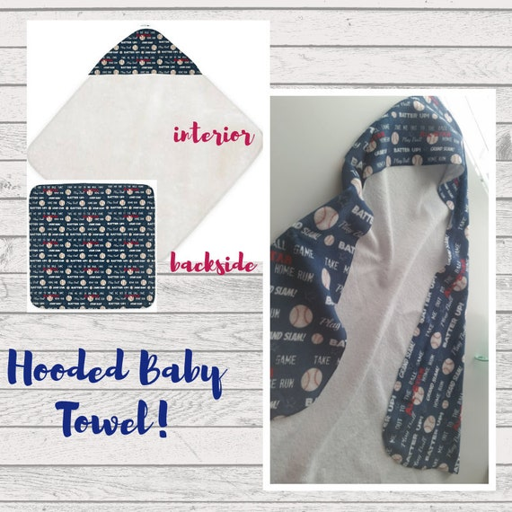 In Stock - Baseball Hooded Baby Towel, Beach Towel, Bath Towel, Toddler Towel -Baseball Baby Boy Towel -Navy Blue