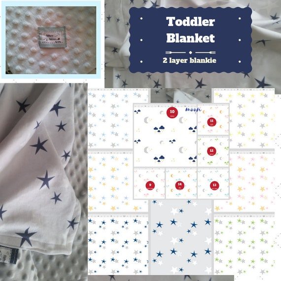Toddler / Baby Blanket / Sham - Moon & Stars - organic cotton,minky blanket, 24x32 Newborn, 32x50 Toddler Kids Blanket
