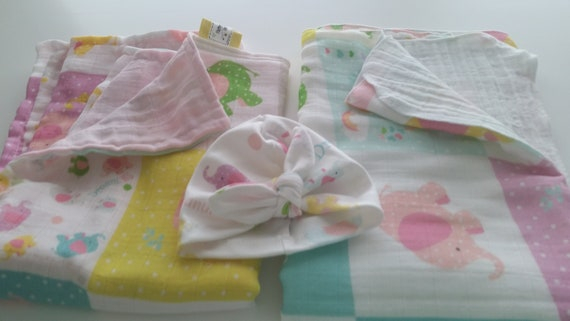 READY to SHIP 2 Layer Muslin Blanket - Organic Gauze Reversible Newborn / Baby Blanket - Elephant Quilt, Baby Girl Turban Hat