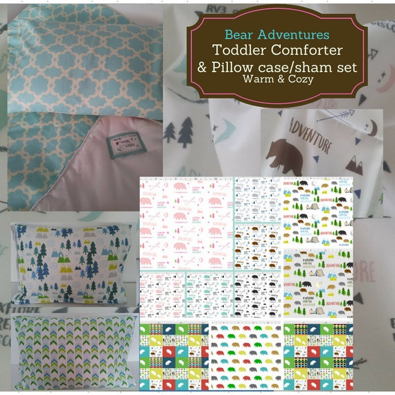 Toddler Comforter Set - Bear Meadow Adventures, Custom Bedding, Pillow Case / Sham, Kids Comforter, Nature Arrow Mountain Bedding