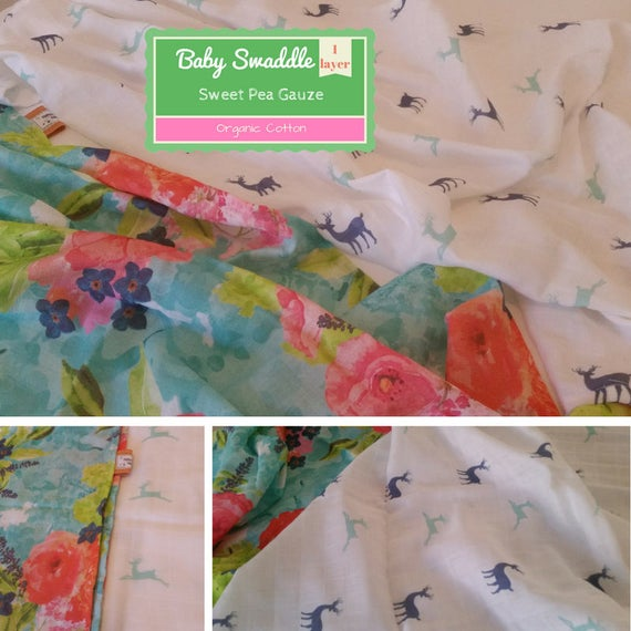 READY to SHIP Baby Swaddle / Organic Sweet Pea Gauze Newborn Swaddle Baby Blanket -  Aqua Rose / Deer Mint Navy-White / 26x34 Baby Blanket