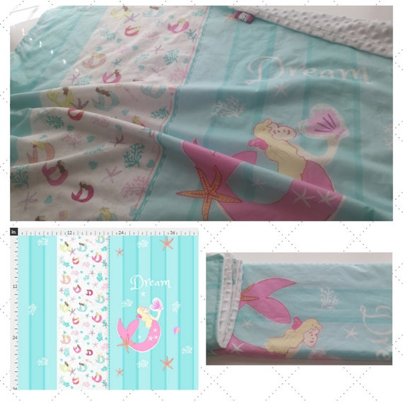 Pink Mermaid Dream| READY to SHIP Cotton Baby Blanket / Toddler Blanket with White Minky Dot Back