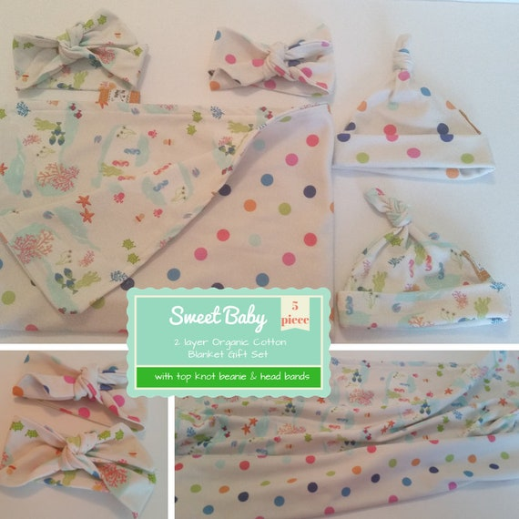 In Stock - Sweet Baby Gift Set - Organic Cotton Reversible Small Blanket & Newborn Beanie/Headband Set -Under the Sea Polka