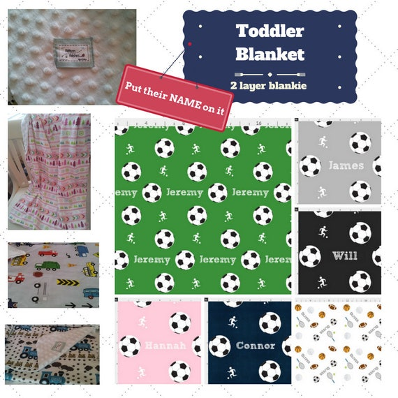 Personalized Blanket - Soccer & Sports- organic cotton, minky baby blanket, 24x32 Newborn, 32x50 Toddler Kids Blanket